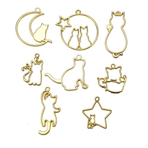 Jewelry Charm Resin (JETEHO 8Pcs Alloy Open Back Bezel Pendants Cat Charms Pendants with Loop 8 Styles for UV Resin Crafts Jewelry Making Golden)