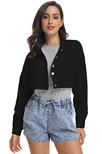(kefirlily Women's Premium Denim Jacket Long Sleeve Washed Crop Jean Coats Black M)