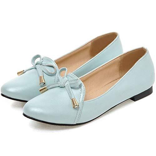 Azul Bailarinas Zapatos Mujer Plano Aicciaizzi Cordones Sin wpXfYq
