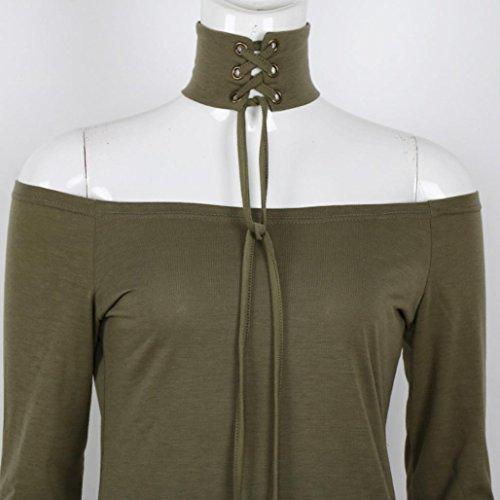 DOLDOA Mujeres Off Shoulder Collar de manga larga Loose Tops Casual Blusa Camiseta ejercito verde