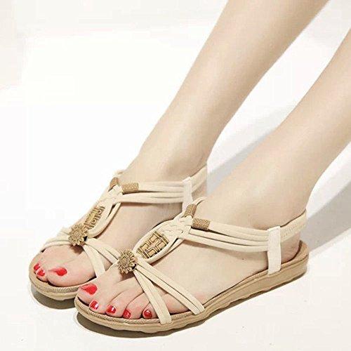 Sunyastor Women Sandals Summer Peep-Toe Roman Bohemia Beach Flip Flops Sandals Shoes Flip-Flop Sweet Beaded Sandals Beige by Sunyastor Shoes (Image #2)