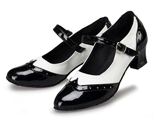 Crc Femmes Fermeture Élégante Orteil Bloc De Couleur En Similicuir Salle De Bal Morden Salsa Latin Tango Fête De Mariage Chaussures De Danse Professionnelle Noir / Blanc