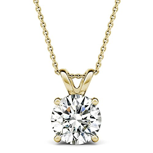 AllenCOCO 14K Gold Plated 2.0 Carat (D Color, VVS Clarity) Simulated Diamond CZ Solitaire Silver Pendant Necklace 16 - 18