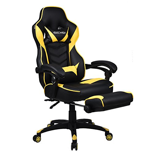 Elecwish Ergonomic Computer Gaming Chair, Large Size PU Leather High Back Office Racing Chairs with Widen Thicken Seat and Retractable Footrest and Lumbar Support 170 Degree Reclining (Yellow)