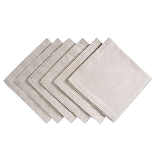 DII CAMZ36975 100% Cotton, Oversized Basic Everyday 20x20 Napkin Set of 6, Chambray Natural