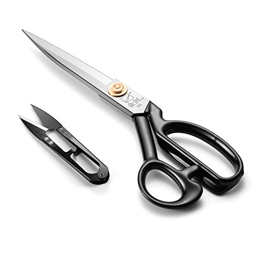 (Sewing Scissors 10 Inch, Fabric Dressmaker Scissors Heavy Duty Shears for Tailors Dressmaking, Professional for Upholstery Office Crafting-Cutting Fabric Leather Paper(Stainless Steel, Right-Handed))