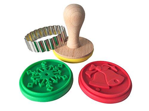 Keksstempel-Set mit Weihnachtsmotiven, Plätzchen-Stempel Set, Weihnachtsplätzchenstempel, inklusive 3 verschiedene Designs + Ausstecher + Rezept für Motivstempelplätzchen
