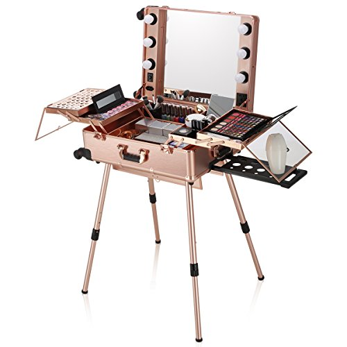 Ovonni LED Makeup Train Case, Lighted Rolling Travel Portable Cosmetic Organizer Box with Mirror 4 Detachable Wheels, Professional Artist Trolley Studio Free Standing Workstation, Rose Gold