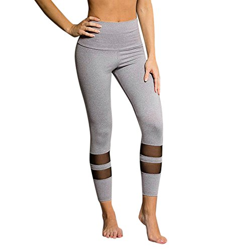 Clearance Sale! Women Pants WEUIE Women High Waist Sports Gym Yoga Running Fitness Leggings Pants Workout Clothes (XL, Gray)