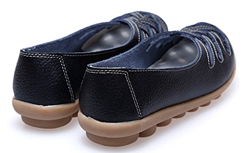 Shoes Slip 1 Women's Black Leather On Loafers Flats Out Moccasin Cut Casual Labato Driving PqwOzw
