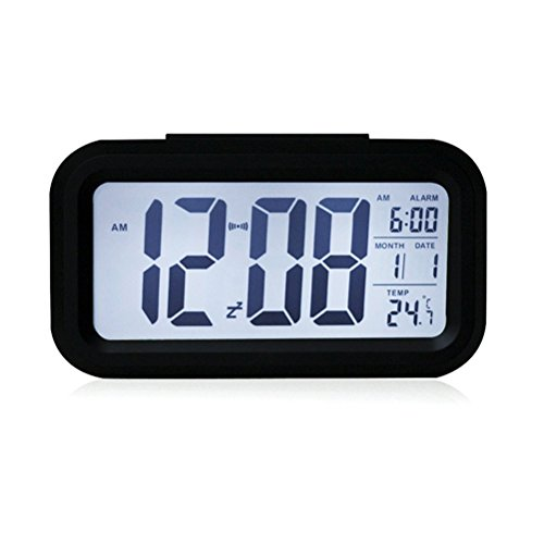 Demarkt LED Wecker Sensor Digitaluhr mit Nachtsensor und Beleuchtung Digitalwecker Reisewecker (schwarz)