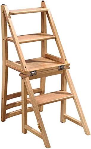 Escalera plegable Taburete de 4 peldaños Silla de escalera de madera portátil para el hogar Biblioteca Escalera de tijera multipropósito Estantes para plantas-440 lb Capacidad (color: color madera): Amazon.es: Hogar