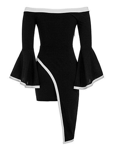 Larga La Manga Negro Hombro Vestimenta JIALE3536 Asimétrica Femenina Vestido A6wxYnUq