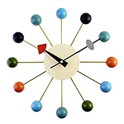 yaoyao Wall Clock Simple Colorful Ball Modern Mixed Color Metal Solid Wood Ball Wall Clocks for Living Room Bedroom and Kitchen Multi-Coloured Cute Retro Style