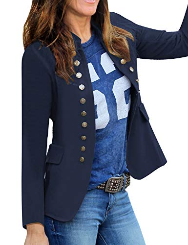 GRAPENT Women's Business Casual Buttons Pockets Open Front Blazer Suit Cardigan Outerwear Navy Blue Large (Fits US 12-US 14)