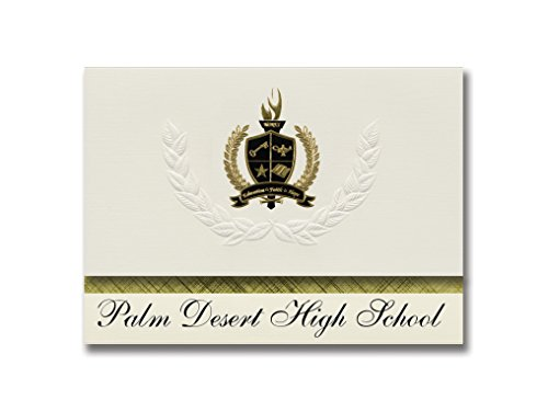 Signature Announcements Palm Desert High School (Palm Desert, CA) Graduation Announcements, Pack of 25 with Gold & Black Metallic Foil seal, 6.25