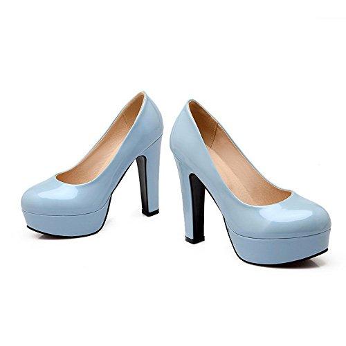 Balamasa Dames Laag Uitgesneden Bovendeel Hoge Hakken Lakleder Pumps-schoenen Blauw