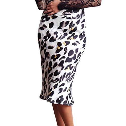 Creazrise Women's Sexy Leopard Print Wrap Bowknot Tie High Waist Belted Split Midi Skirt ()