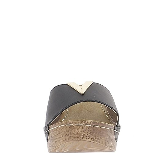 Sabots compensés noirs à talon de 7cm et plateau de 3cm mats
