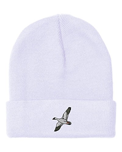 Snow Goose Embroidery Embroidered Beanie Skully Hat Cap White