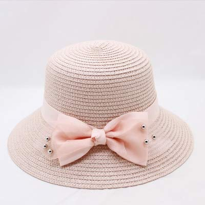 ed1e8175d08a1 Image Unavailable. Image not available for. Color  ForShop New Women Summer  Fresh Bows Straw hat Soft Sun Visor Travel Seaside Holiday Resort Beach