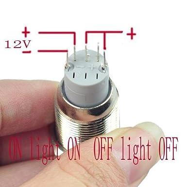 Interruptor de bot/ón de encendido 16 mm, 12 V-24 V, 5 A, luz LED de /ángel, interruptor de metal con enchufe de enchufe de cable HiLetgo