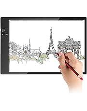 ICOCO Tablette Lumineuse, Super Mince Décalquer LED Copy Plaque avec Luminosité Réglable, A4/A3 Taille Pad pour Dessiner Tatouage Esquisse Architecture Calligraphie Artisanat avec Cable USB
