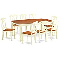 East West Furniture DOKE9-WHI-W 9 Piece Table and 8 Dining Room Chairs Set