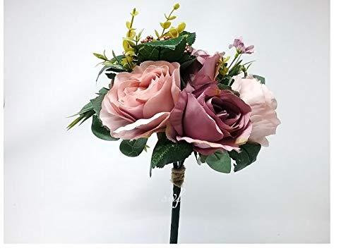 12-Dusty-Pink-Lavender-Rose-Hydrangea-Bouquet-Silk-Wedding-Bridal-Bridesmaid-Flowers-S1013