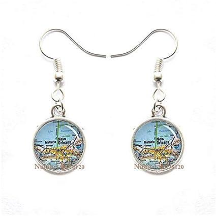 Yijianxhzao Louisiana-New Orleans Map Dangle Earrings,Louisiana Charm,Louisiana Earrings Dangle Earrings,Louisiana State Earrings,BV173