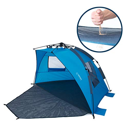 Beach Tent with SAND-FREE PORCH, 4 Person XL Tent, Pop Up Sun Shade, Wind Blocker