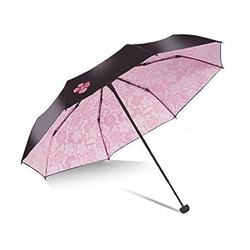 HAN-NMC Sunscreen sombrilla Paraguas Paraguas Plegable,Rosa Sakura