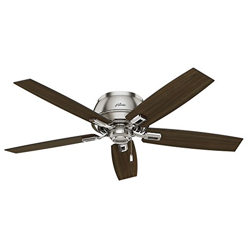Hunter Indoor Low Profile Ceiling Fan with LED Light and pull chain control – Donegan 52 inch, Brushed Nickel, 53344