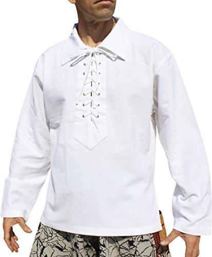 Svenine European Collar Long Sleeve Renaissance Swordsman Shirt Mixed Cottons, Large, Muang Cotton - White