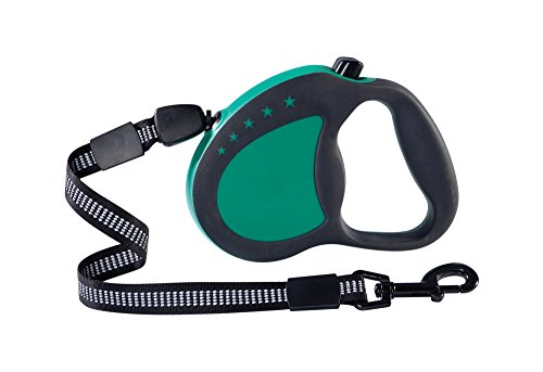 Guardian Gear Retractable Reflective Nylon Cord-Style Dog Leash with 16' Lead, Large, Green (Animal Retractable Leash Dog)
