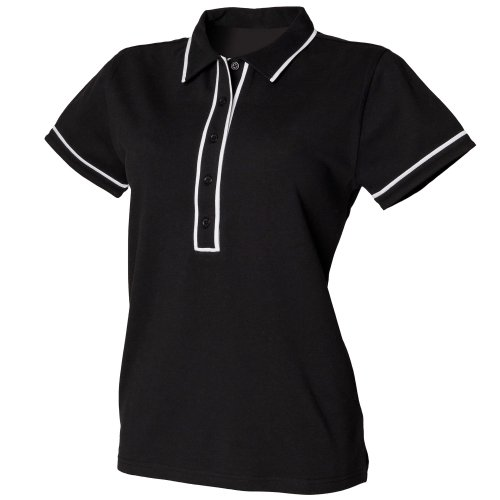 Skinni Fit Ladies/Womens Contrast Piped Polo Shirt (M) (Black/White)