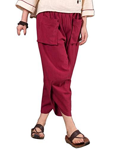 Irregolare Lino Rosso Linen Signore Con Solido Comodo Doppio Pants Casual Cucitura Pantaloni Lato Zhhlaixing Vino Tasca Lanterna Sciolto Le UqAXExv