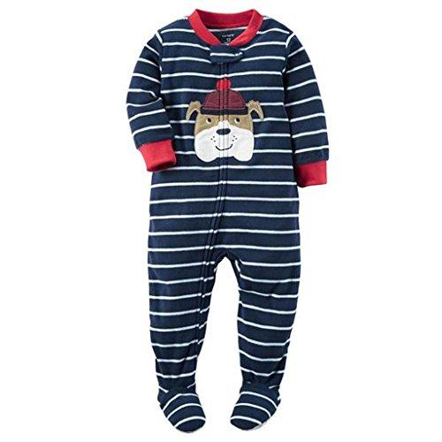 Carter's Boy's 4T Navy Striped Bulldog Fleece Footed Pajama Sleeper