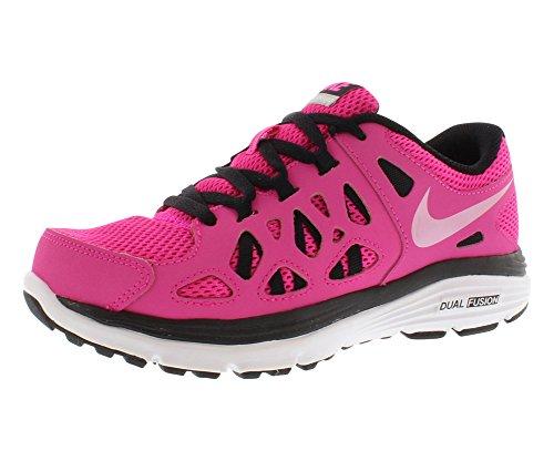 wholesale dealer e2134 a02b5 Nike Girls Dual Fusion Run Running Shoe Pink Foil Black White Metallic  Silver Size 7