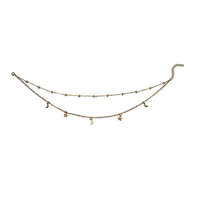 e730eac396521 Gleamart Women Girls Layered Crescent Moons & Stars Beads Charm Choker  Necklace