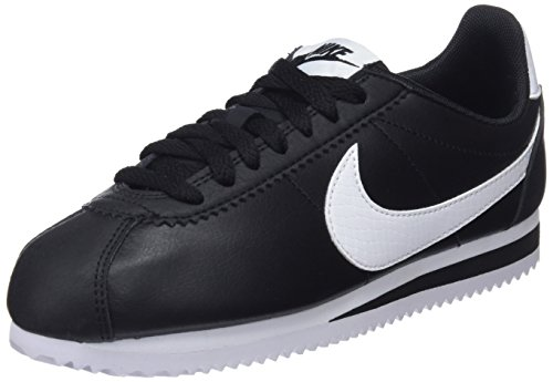 NIKE Black Cortez Donna Leather 016 Scarpe Running Wmns White Black Nero Classic BvxqgBTnEr
