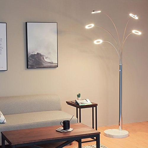 Co z bright led floor lamp with 5 dimmable lights modern - Bright floor lamp for living room ...