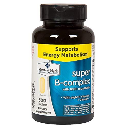 Member's Mark Super B-Complex with Biotin Vitamin B and Vitamin C (1 Bottle (300 Tablets))