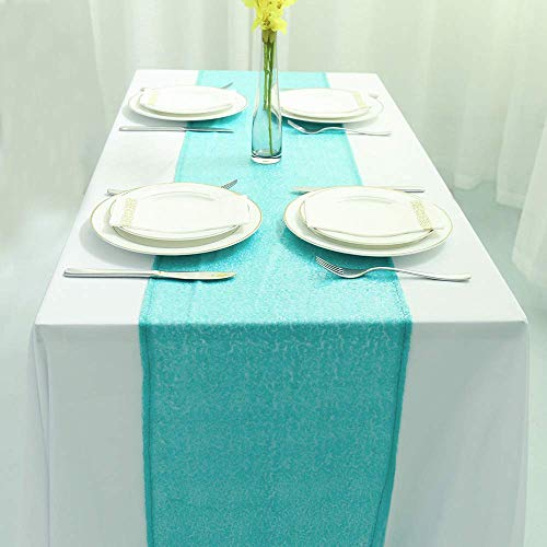 Zdada New Year's Day Party Table Runner Aqua Green 12