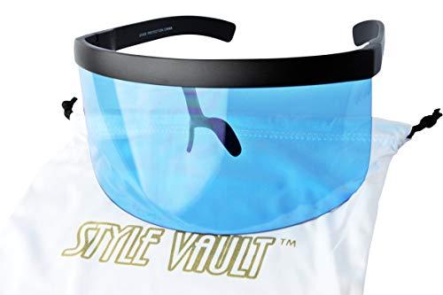 A3070 Visor Mask Style Futuristic Shield Oversize Sunglasses (Black-Crystal Blue, 8) ()