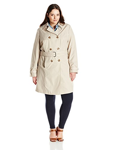 T Tahari Women's Plus-Size Laurie Double Breasted Trench Coat with Lace Detail, Sand, 2X
