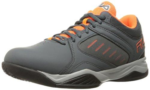 Fila Männer Bank Basketball Schuh Castlerock / Shocking Orange / Metallic Silber