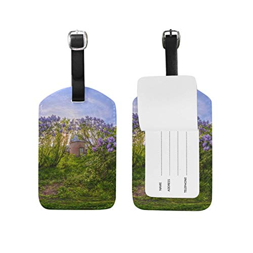 (Carl McIsaacDoor Custom Village Spring Flowers Luggage Tags Travel Labels Tag Name Card Holder for Baggage Suitcase Bag Backpacks, 2 Pieces)