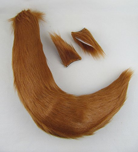 Happylifehere Furry Fox Ears Tail Set For Cosplay Halloween Party Dressing -