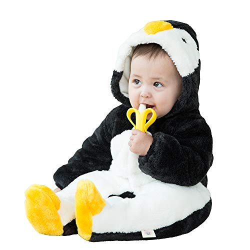 mikistory Infant Romper Newborn Unisex Costume for Baby Newborn Outfit Hoodie Winter Baby Outfits Bodysuits Black Penguin 7-10Months -